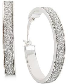 Glitter Hoop Earrings in Sterling Silver, Created for Macy's