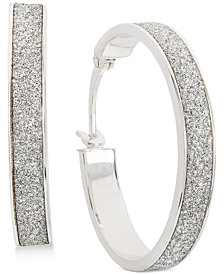 Giani Bernini Glitter Hoop Earrings in Sterling Silver, Created for Macy's