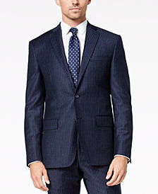 DKNY Men's Modern-Fit Navy Pinstripe Suit Jacket
