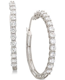"Giani Bernini Small Cubic Zirconia Hoop Earrings in Sterling Silver, 0.75"", Created for Macy's"
