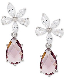 Giani Bernini Cubic Zirconia Flower Drop Earrings in Sterling Silver, Created for Macy's