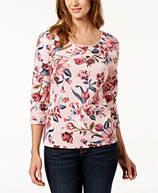 Karen Scott Floral-Print Scoop-Neck T-Shirt, Created for Macy's