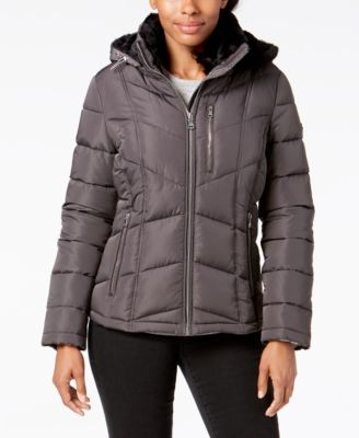 Petite Faux-Fur-Lined Hooded Puffer Coat