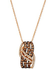 "Le Vian Chocolatier® Diamond Overlap 18"" Pendant Necklace (3/4 ct. t.w.) in 14k Rose Gold"