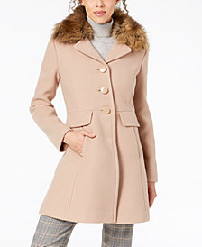 kate spade new york Faux-Fur-Collar Coat