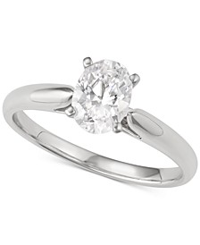 Oval Solitaire Engagement Ring (1 ct. t.w.) in 14k White Gold