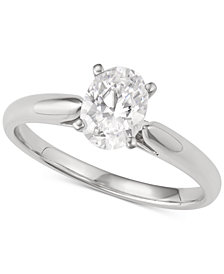 Macy's Star Signature Diamond Oval Solitaire Engagement Ring (1 ct. t.w.) in 14k White Gold