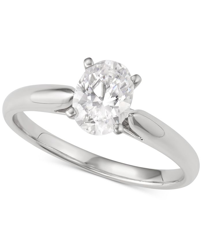 Macy's Star Signature Diamond - Diamond Oval Solitaire Engagement Ring (1 ct. t.w.) in 14k White Gold