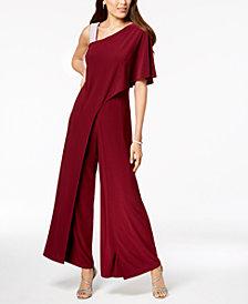 R & M Petite Embellished One-Shoulder Jumpsuit