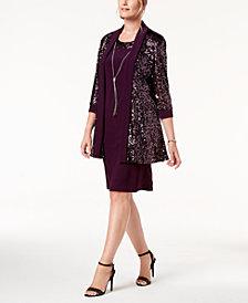 R & M Richards Sequin Necklace-Embellished Dress & Jacket