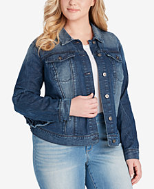 Jessica Simpson Plus Size Peony Ruffled Denim Jacket