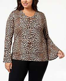 MICHAEL Michael Kors Plus Size Printed Bell-Sleeve Top