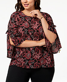 MICHAEL Michael Kors Plus Size Paisley-Print Split-Sleeve Top