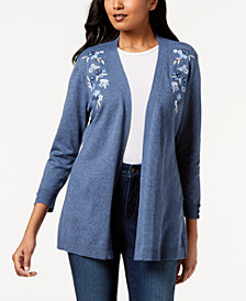 Karen Scott Flower-Embroidered Open-Front Cardigan, Created for Macy's