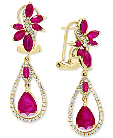 EFFY® Certified Ruby (4-1/2 ct. t.w.) & Diamond (5/8 ct. t.w.) Drop Earrings in 14k Gold