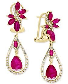 EFFY® Certified Ruby (4-1/2 ct. t.w.) & Diamond (5/8 ct. t.w.) Drop Earrings in 14k Gold
