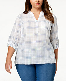 Style & Co Plus Size Cotton Windowpane Plaid Split-Neck Shirt, Created for Macy's
