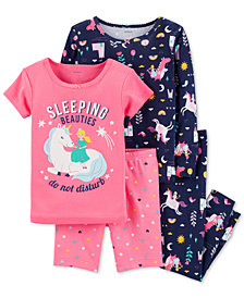 Carter's Baby Girls 4-Pc. Princess Print Cotton Pajama Set