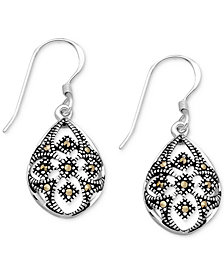 Marcasite Openwork Teardrop Drop Earrings in Fine Silver-Plate