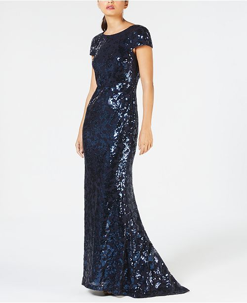 1ea536d56374 Calvin Klein Draped-Back Sequined Gown   Reviews - Dresses - Women ...