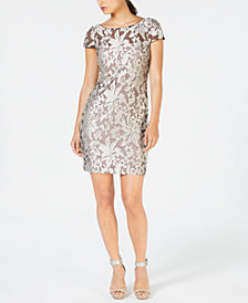 Calvin Klein Sheer Embroidered Dress