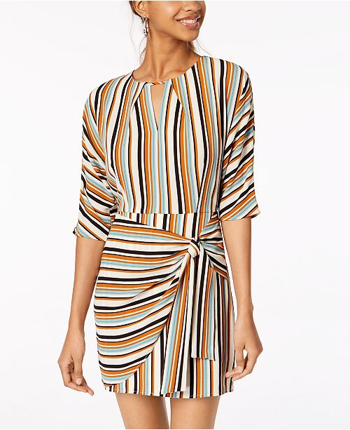 Juniors' Gold Tie Striped Sundae Multi Emerald Side Wrap Dress CBqfnxpw