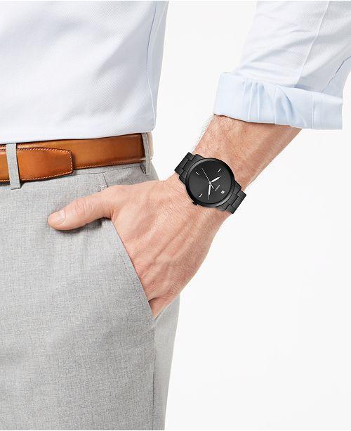 c3774f864 ... Fossil Men's Minimalist Carbon Series Diamond-Accent Black Stainless  Steel Bracelet Watch ...