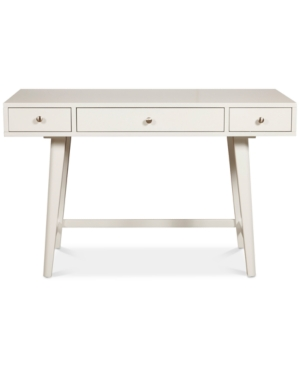 Bring a touch of mid-century modern inspired design to your workspace with this painted desk accented with nickel-finish knobs. Three drawers with full-extension side glides allow for easy access to generous storage to keep you organized in style.
