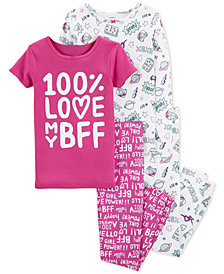 Carter's Little & Big Girls 4-Pc. BFF Snug Fit Cotton PJs Set