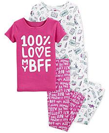 Carter's Little & Big Girls 4-Pc. BFF Snug Fit Cotton PJs Set