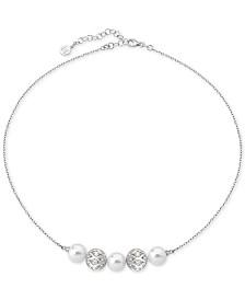 "Majorica Sterling Silver Pavé Bead & Imitation Pearl Collar Necklace, 17"" + 2"" extender"