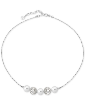 """Majorica STERLING SILVER PAVE BEAD & IMITATION PEARL COLLAR NECKLACE, 17"""" + 2"""" EXTENDER"""