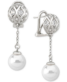 Majorica Sterling Silver Pavé Bead & Imitation Pearl Drop Earrings