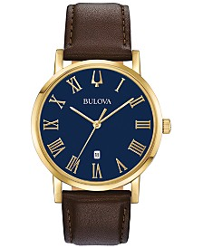 Bulova Men's American Clipper Brown Leather Strap Watch 40mm