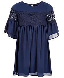 Us Angels Big Girls Crochet-Trim Bell-Sleeve Dress