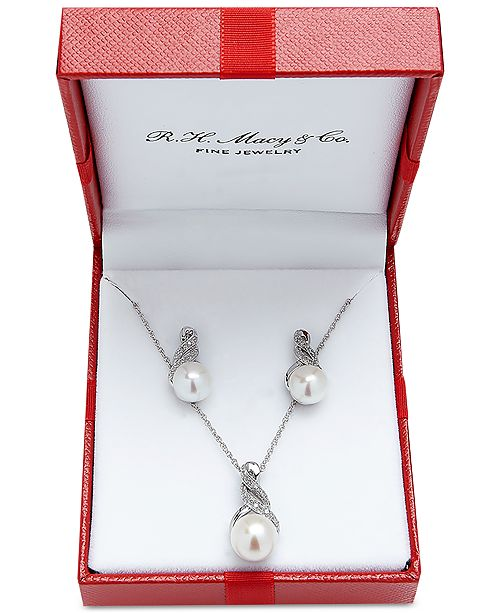 4f588d45f ... Macy's Cultured Freshwater Pearl (8 & 9mm) and Diamond Accent Pendant  Necklace and Earrings ...