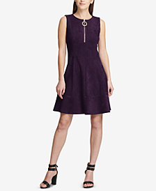 DKNY Faux-Suede Fit & Flare Dress, Created for Macy's