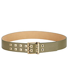 MICHAEL Michael Kors Square-Grommet Leather Belt