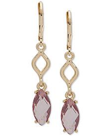 Anne Klein Gold-Tone Link & Stone Double Drop Earrings