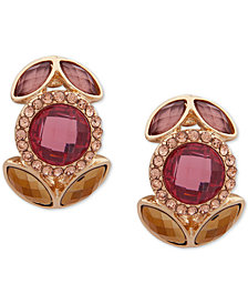 Anne Klein Gold-Tone Multi-Stone E-Z Clip-On Button Earrings