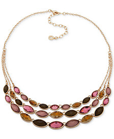 "Anne Klein Gold-Tone Stone Triple-Row Statement Necklace, 16"" + 3"" extender"