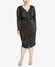 RACHEL Rachel Roy Plus Size Crinkle-Pleated Wrap Dress