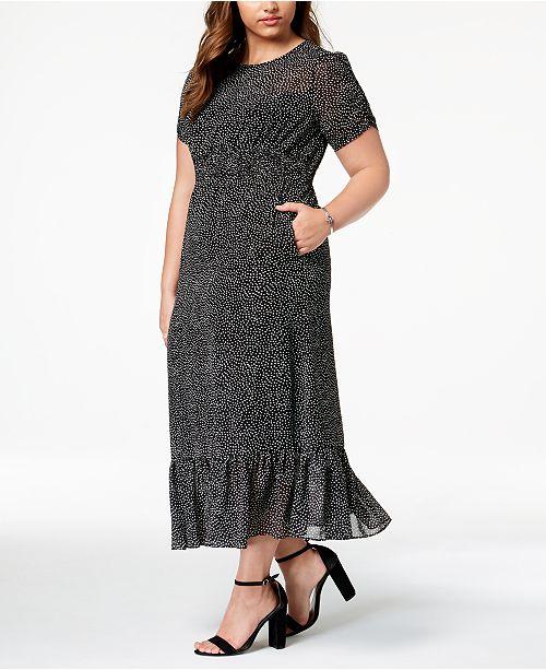 Betsey Johnson Plus Size Polka Dot Smocked Maxi Dress