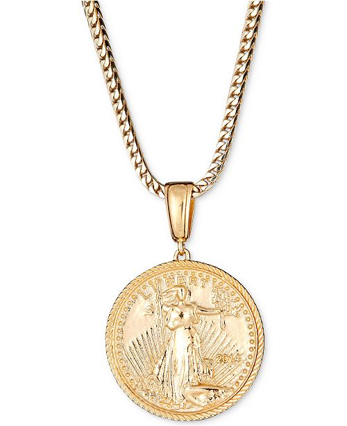 "Macy's Men's Coin 24"" Pendant Necklace in 18k Gold-Plated Sterling Silver"