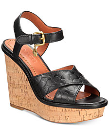 COACH Crossband Wedge Sandals