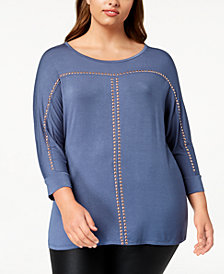 Belldini Plus Size Dolman-Sleeve Studded Top