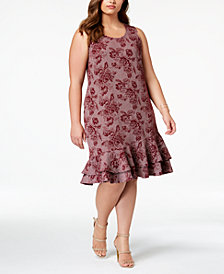 NY Collection Plus Size Printed Ruffle-Hem Dress