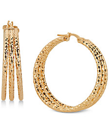 Triple Hoop Earrings in 14k Gold-Plated Sterling Silver