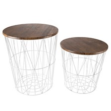 """Nesting End Tables with Storage- Set of 2 by Lavish Home, 20.5"""" x 17.5"""" x 17.5"""""""