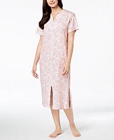 Miss Elaine Knit Paisley-Print Robe